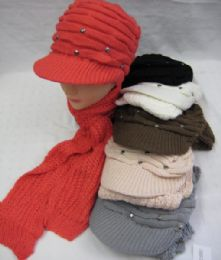 36 Units of Womens Fashion Winter Warm Hat And Scarf Set With Rhinestones - Winter Sets Scarves , Hats & Gloves