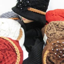36 Units of Womens Winter Fashion Hat And Scarf Set With Rope And Flower - Winter Sets Scarves , Hats & Gloves