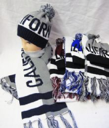 12 Units of Men's California Hat And Scarf Set - Winter Sets Scarves , Hats & Gloves