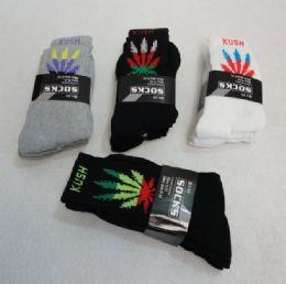 120 Units of Men's Marijuana Crew Socks 9-11 - Mens Crew Socks