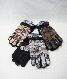 36 Units of Winter Warm Camo Gloves - Knitted Stretch Gloves