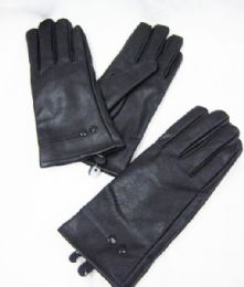 36 Units of Womens Winter Black PU Glove - Knitted Stretch Gloves