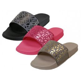 36 Units of Women's Rhinestone Top Slide Sandals - Women's Slippers
