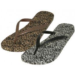 48 Units of Women's Leopard Thong Flip Flop