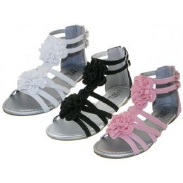 24 Units of Youth's Silk Flower Top Gladiator Sandals - Girls Sandals
