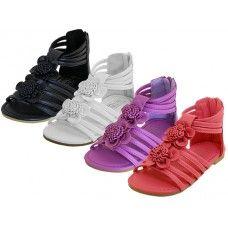 24 Units of Girl's Flower Top Gladiator Sandals - Girls Sandals