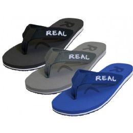 "36 Units of Men's ""Real"" Soft Comfortable Fabric Upper Thong Sandals ( Asst. Black, Gray & Royal ) - Men's Flip Flops and Sandals"