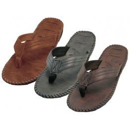 """36 Units of Men's """"Real"""" Side Stiches Emboss Thong Sandals - Men's Flip Flops and Sandals"""