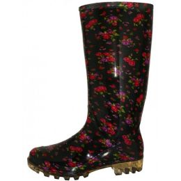 12 Units of Women's 13.5 Inches Waterproof Rubber rain Boots ( *Black With Red Floral Print ) - Women's Boots