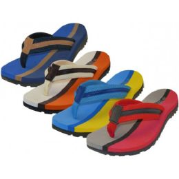 36 Units of Men's 2 Tone Color Fabric Thong Sandals - Men's Flip Flops and Sandals