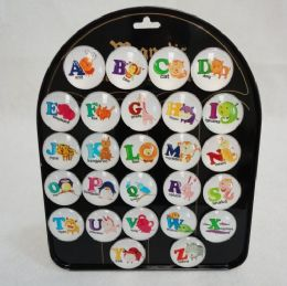"52 Units of 1.5"" Round Dome Magnets [Alphabet Animals] - Educational Toys"