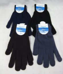 96 Units of Mens Winter Assorted Color Glove - Knitted Stretch Gloves