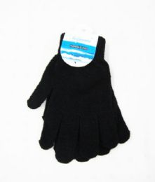 96 Units of Winter Warm Womens Black Gloves - Knitted Stretch Gloves