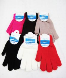 96 Units of Winter Warm Womens Assorted Color Gloves - Knitted Stretch Gloves