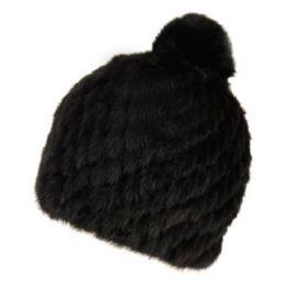 12 Units of Real Soft Warm Mink Fur Winter Beanie With Pom Pom - Fashion Winter Hats