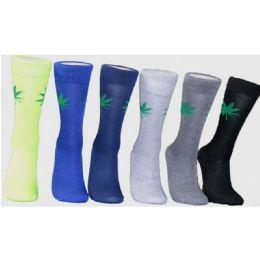 288 Units of Men's Marijuana Leaf Crew Socks - Mens Crew Socks