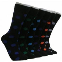 288 Units of Men's Polka Dot Print Crew Socks - Mens Crew Socks