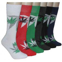 288 Units of Men's Leaf Print Crew Socks - Mens Crew Socks