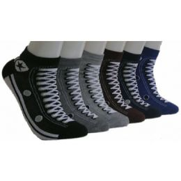 480 Units of Men's Sneaker Print Low Cut Ankle Socks - Mens Ankle Sock