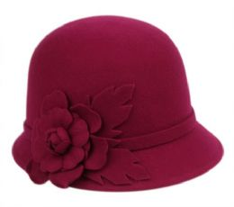 12 Units of Ladies Wool Felt Cloche With Flower Trim And Band - Fashion Winter Hats