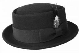 12 Units of FELT PORK PIE HATS IN BLACK - Fashion Winter Hats