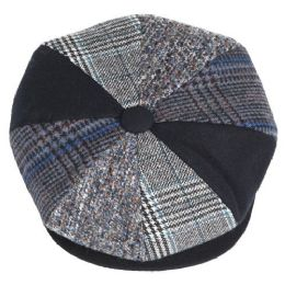 12 Units of Multi Patch Work Newsboy Cap - Fashion Winter Hats
