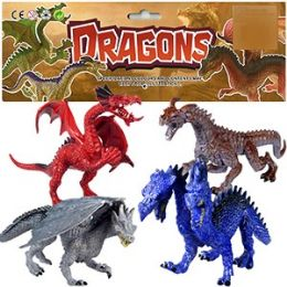 12 Units of 4 PIECE VINYL DRAGON SETS - Animals & Reptiles