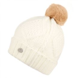 24 Units of WARM CABLE KNIT BEANIE WITH POM POM & SHERPA LINING - Fashion Winter Hats