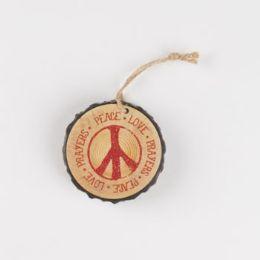 96 Units of Ornament Resin 3in Diameter Peace Love Prayers - Christmas Ornament