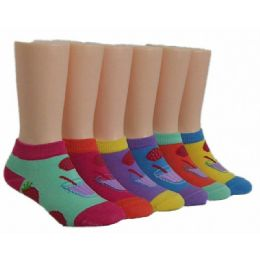 480 Units of Girls Strawberry Punch Low Cut Ankle Socks - Girls Ankle Sock