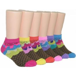 480 Units of Girls Ice Cream Cone Low Cut Ankle Socks - Girls Ankle Sock