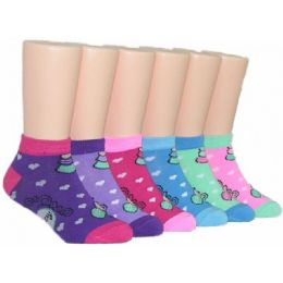 480 Units of Girls Heart Print Low Cut Ankle Socks - Girls Ankle Sock