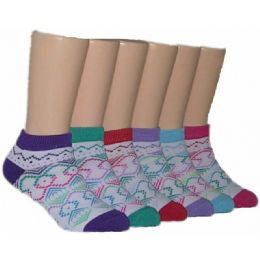 480 Units of Girls Tribal Print Low Cut Ankle Socks - Girls Ankle Sock