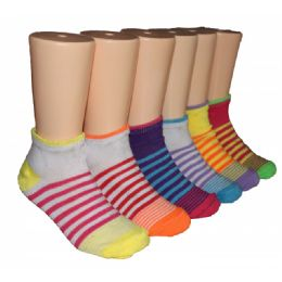 480 Units of Girls Sriped Low Cut Ankle Socks - Girls Ankle Sock