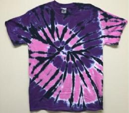 12 Units of Tie Dye Purple With Black Strikes Assorted - Woman & Junior Girls