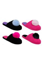 48 Units of Womens Winter Pom Slipper - Women's Slippers