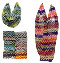36 Units of Infinity Circle Scarves Chevron Zig Zag Quad-color - Womens Fashion Scarves