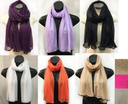 24 Units of Sectional Scarves with Solid Color Print Assorted Color - Womens Fashion Scarves