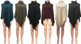 12 Units of Winter Knitted Poncho With Raised Square Pattern - Winter Pashminas and Ponchos