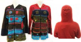 6 Units of Nepal Handmade Cotton Jackets with Hood Flowers - Womens Sweaters & Cardigan