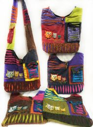 10 Units of Nepal Hobo Bags Three Owls with Side Pocket Assorted - Tote Bags & Slings