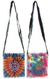 10 Units of Tie Dye Cotton Peace Sling Bags - Tote Bags & Slings