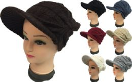 24 Units of Knitted Lady Hats with Bill Winter Hats - Fashion Winter Hats