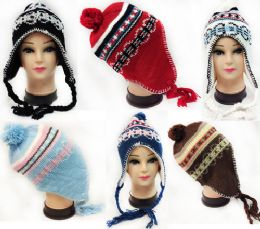 36 Units of Knitted Fleece Lined Winter Hat with Ear Flaps - Fashion Winter Hats