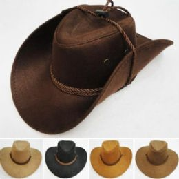 24 Units of Suede Like Cowboy Hat Rope Band - Cowboy & Boonie Hat