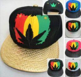24 Units of Rasta Color Marijuana Leaf Snapback Hats
