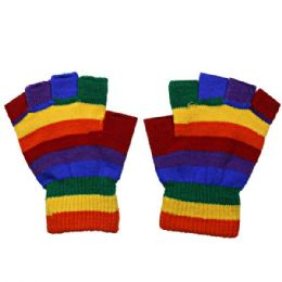 72 Units of Fingerless Rainbow Glove - Knitted Stretch Gloves