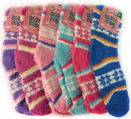 120 Units of Warm Soft Fuzzy Socks with Snow Flakes Assorted - Womens Fuzzy Socks