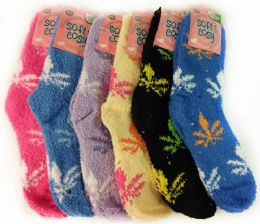 36 Units of Warm Soft Fuzzy Socks with Marijuana Leaf Assorted - Womens Fuzzy Socks