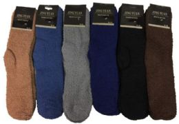 36 Units of Men's Solid Color Fuzzy Sock - Men's Fuzzy Socks